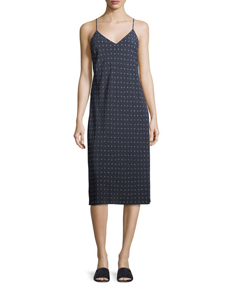 Vince Refined Dot Silk Camisole Dress, Coastal