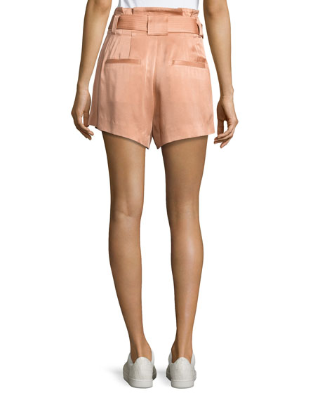 Deliah High-Waist Sateen Shorts, Pink