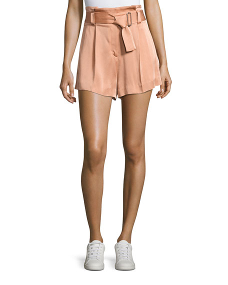 A.L.C. Delilah High-Waist Sateen Shorts, Pink