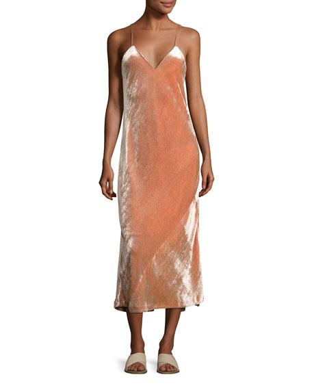 A.L.C. Annex V-Neck Velvet Maxi Dress, Pink