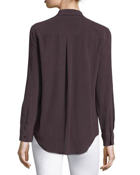 Slim Signature Long-Sleeve Silk Shirt