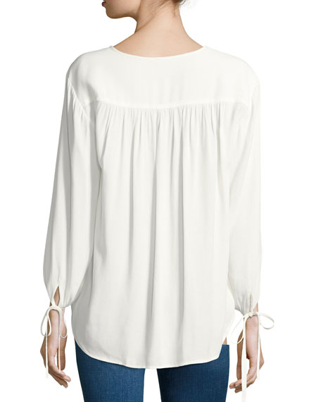 Crepe Lace-Up Bracelet-Sleeves Shirt