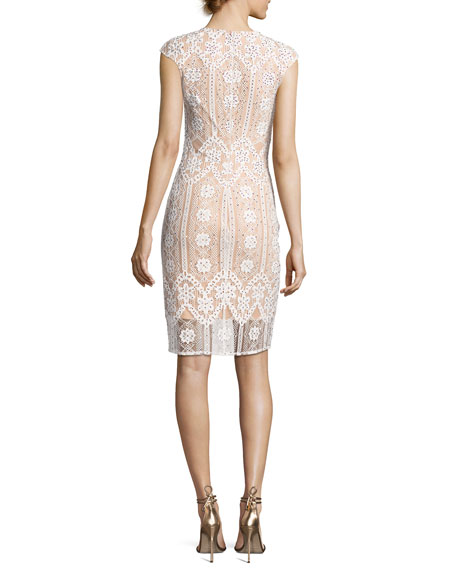 Cap-Sleeve Sequined Lace Cocktail Dress, White/nude