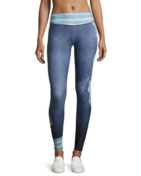 Onzie Graphic Full-Length Performance Leggings, Gray Pattern