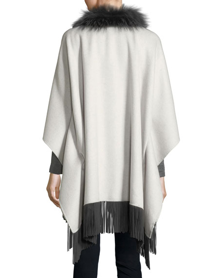 Luxury Double-Faced Cashmere Shawl w/ Fox Fur Collar & Suede Fringe Hem