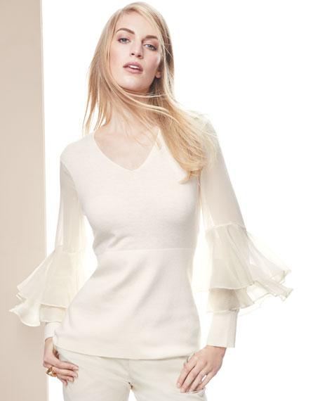 Chiffon Ruffle-Sleeve V-Neck Cashmere Sweater