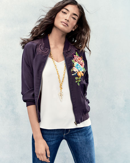 Alice Silk Crepe Embroidered Bomber Jacket