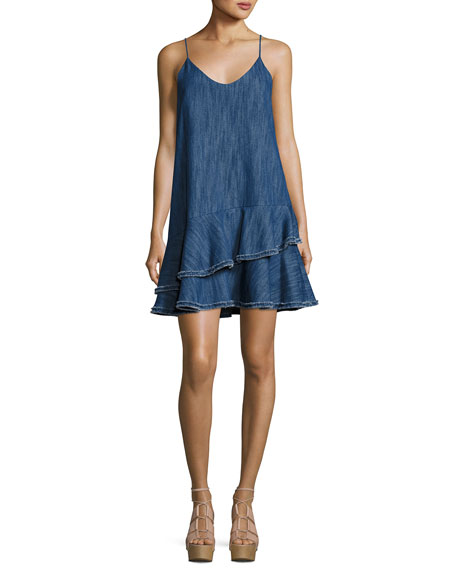 Alexis Evangeline Drop Waist Denim Dress, Blue