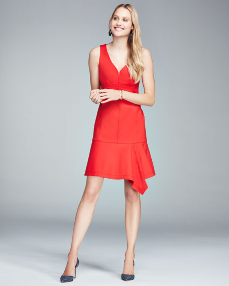 Sparkler Sleeveless Stretch Poplin Flounce Dress, Cherry Red