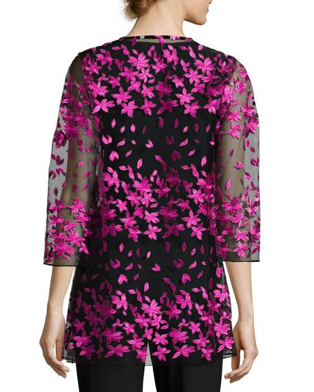 Floral Notes Draped Jacket, Azalea, Plus Size