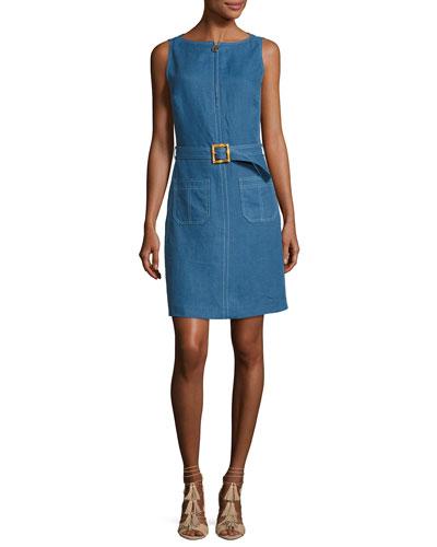 Nadia Sleeveless Zip-Front Belted Linen Dress, Indigo