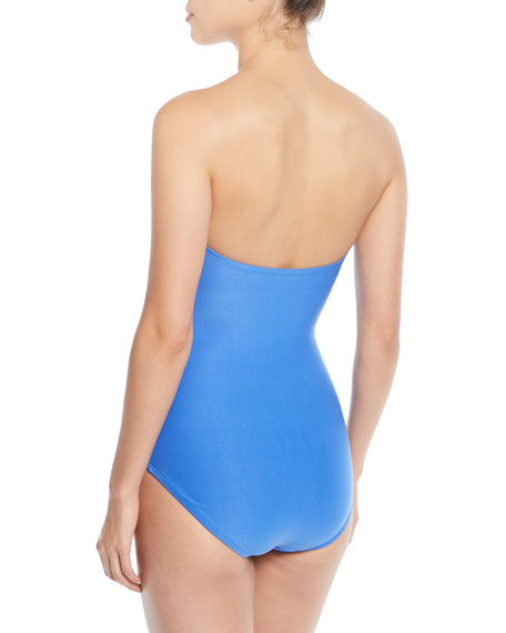 scalloped bandeau one-piece swimsuit