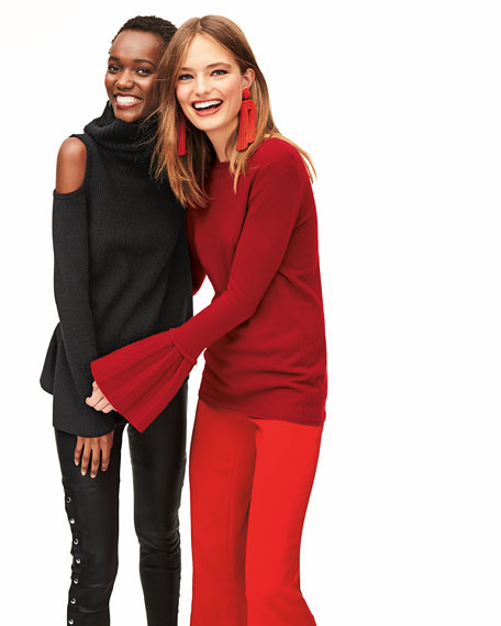 Pleated Bell-Sleeve Boat-Neck Cashmere Sweater