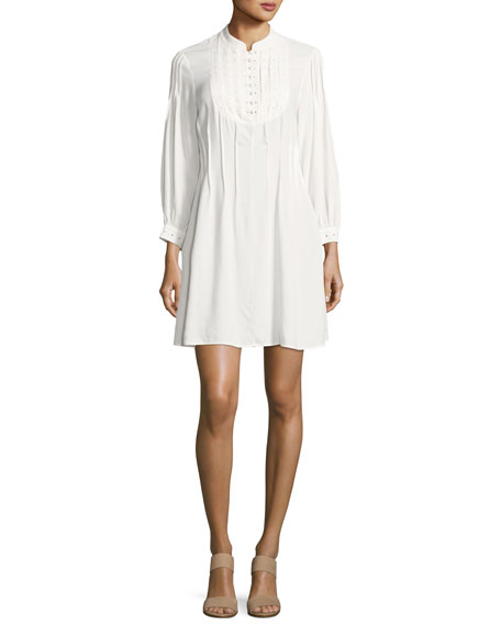 FRAME Eyelet Pleated Mini Dress, Off White