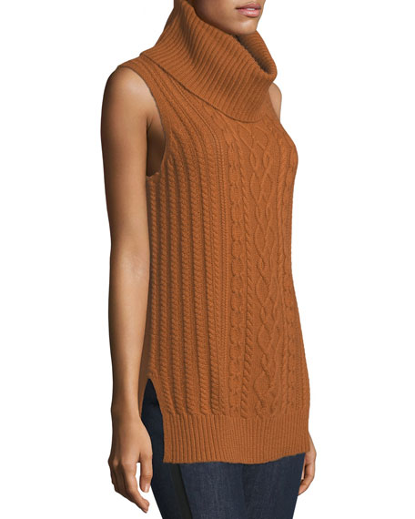 Cowl-Neck Cable-Knit Cashmere Vest