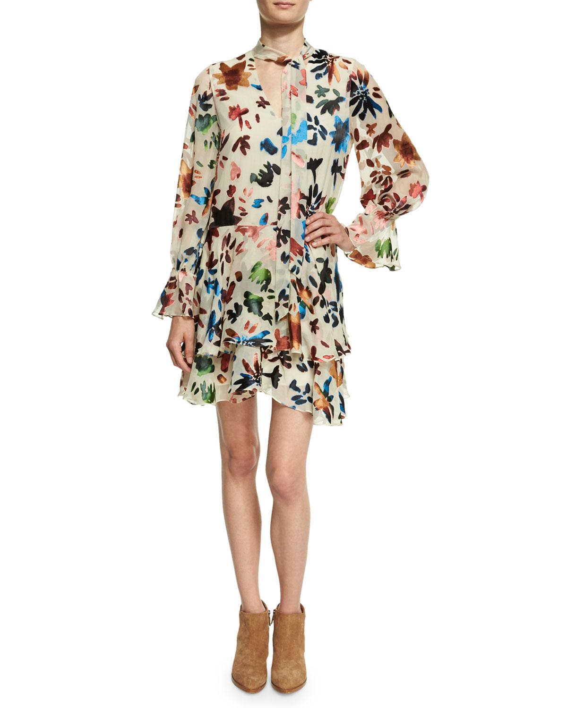 0e9ba09501 Alice + Olivia Moore V-Neck Layered Tunic Dress