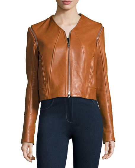 Jonathan Simkhai Leather Moto Jacket W/ Removable Sleeves,