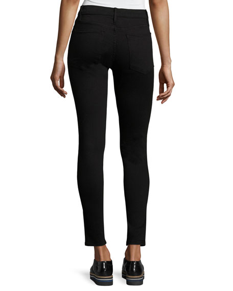 FRAME Le High Split-Front Skinny Jeans, Black