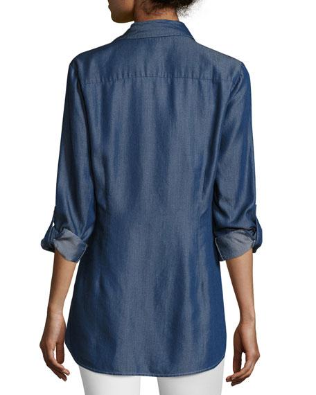Denim Asymmetric Button-Detail Shirt, Petite