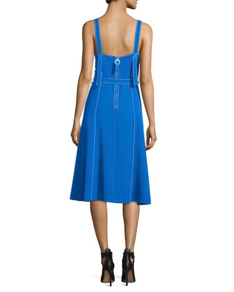 Sleeveless Topstitched A-Line Dress w/ Belt