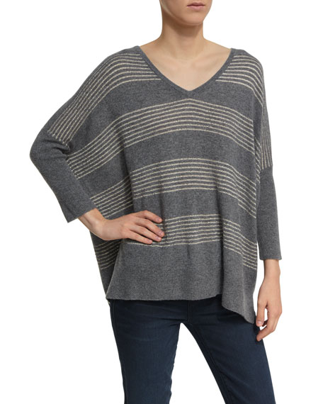 Neiman Marcus Cashmere Collection Dolman-Sleeve Metallic-Striped