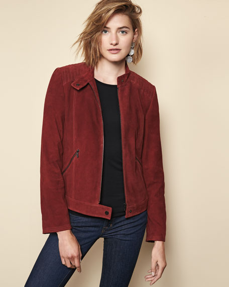 Suede Moto Jacket w/ Quilted Shoulders