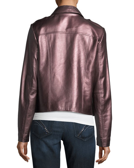 Metallic Leather Moto Jacket