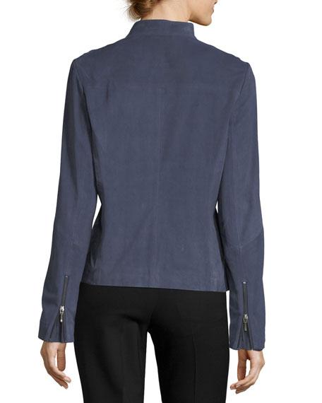 Tab-Collar Suede Moto Jacket