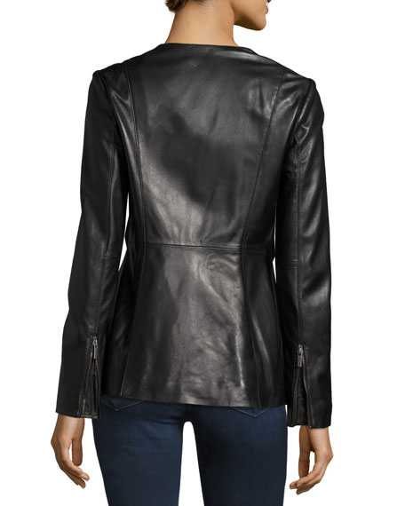 Leather Peplum Jacket, Black