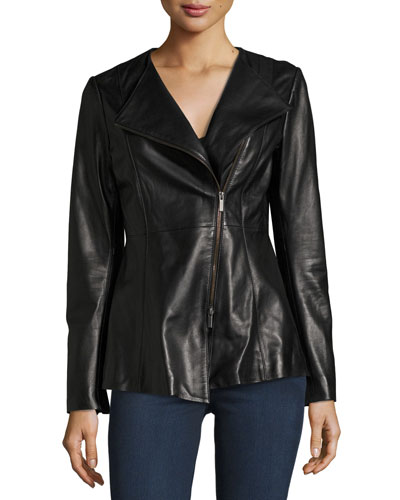 Neiman Marcus Leather Collection Leather Peplum Jacket, Black