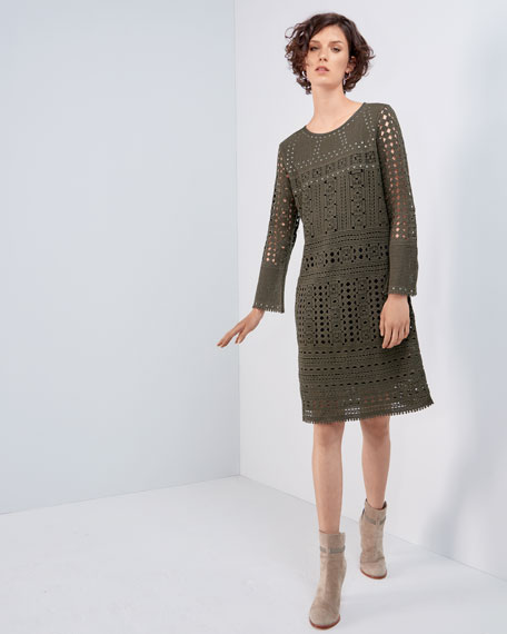 Long-Sleeve Lacy Knit Sheath Dress