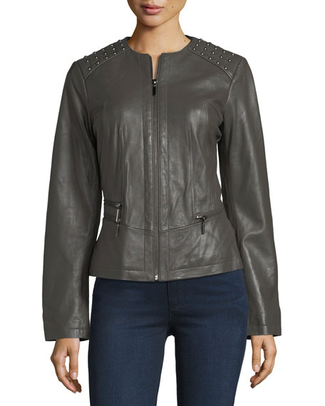 Studded-Shoulder Leather Moto Jacket