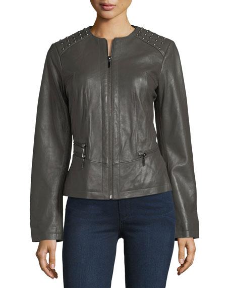 Studded-Shoulder Leather Moto Jacket