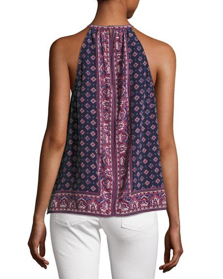 Bradie Sleeveless Halter Silk Top