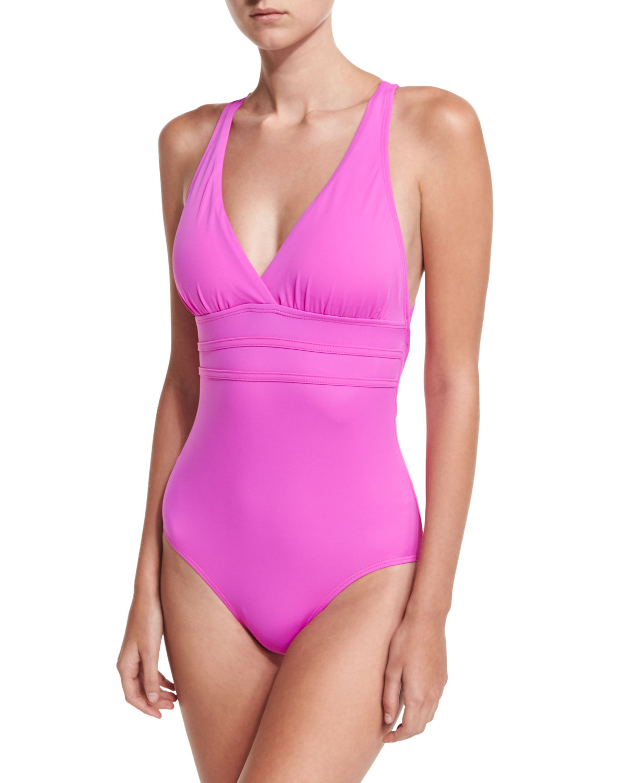 4a4ac404b17 Athena Crisscross-Back One-Piece Swimsuit   Neiman Marcus