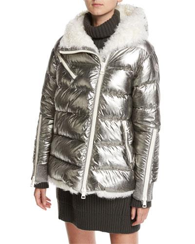 Lirio Quilted Metallic Puffer Coat W/ Shearling