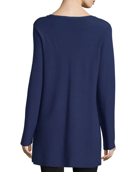 Crisp Cotton Links Long-Sleeve V-Neck Tunic, Petite