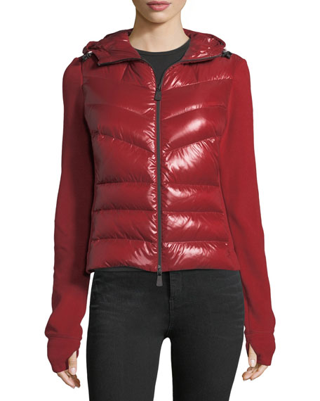 Moncler Knit Combo Quilted Puffer Cardigan