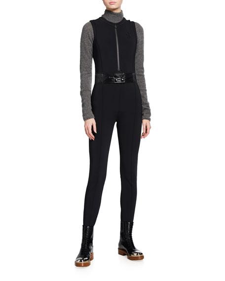 Moncler Tuta Belted Stirrup Jumpsuit, Black