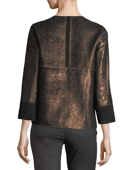 Garrison Velvet-Trim Shimmering Metallic Leather Jacket