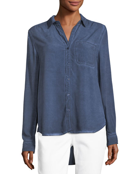 Elisa Tab-Sleeve Chambray Shirt