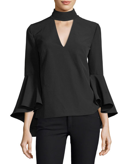 Milly Andrea Mock-Neck Bell-Sleeve Italian Cady Top