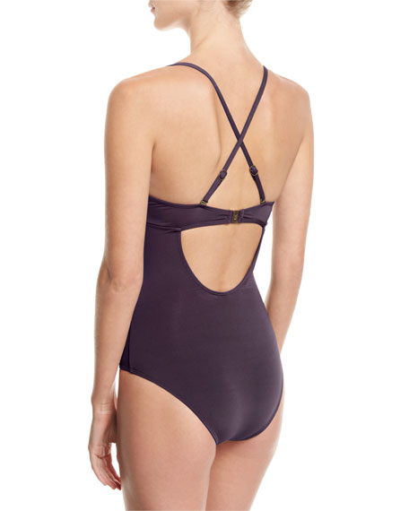 Crossover V-Neck One-Piece Swimsuit