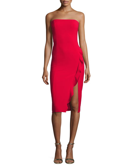 Memphis Strapless Cocktail Dress w/ Ruffled Slit, Red