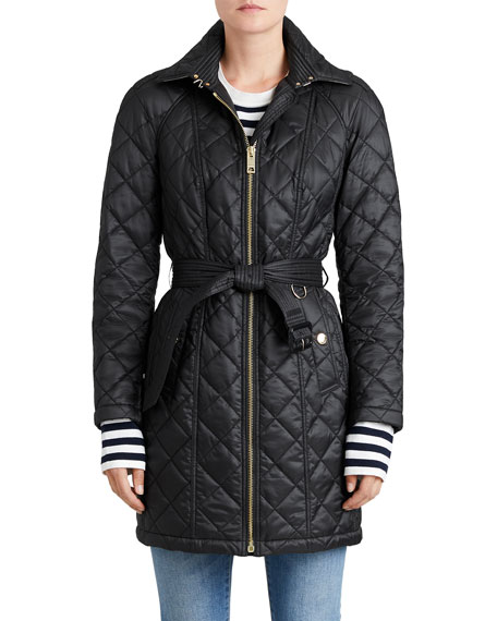 Burberry Baughton Quilted Belted Parka Jacket, Black