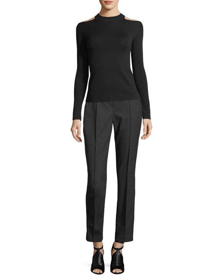 Karis Plaid Stretch-Wool Straight-Leg Pants