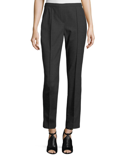 Karis Plaid Stretch-Wool Straight-Leg Pants