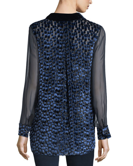 Martha Long-Sleeve Snap-Front Textured Blouse