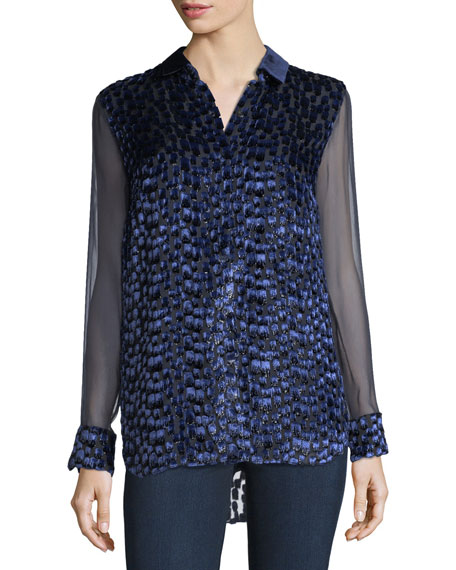 Elie Tahari Martha Long-Sleeve Snap-Front Textured Blouse