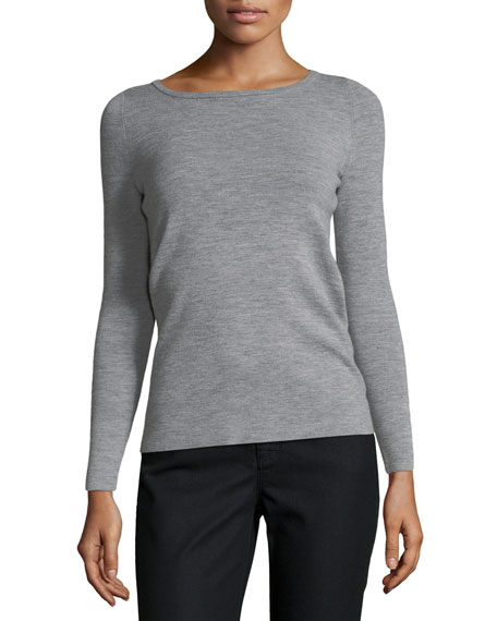 Ribbed Bateau-Neck Merino Wool Sweater